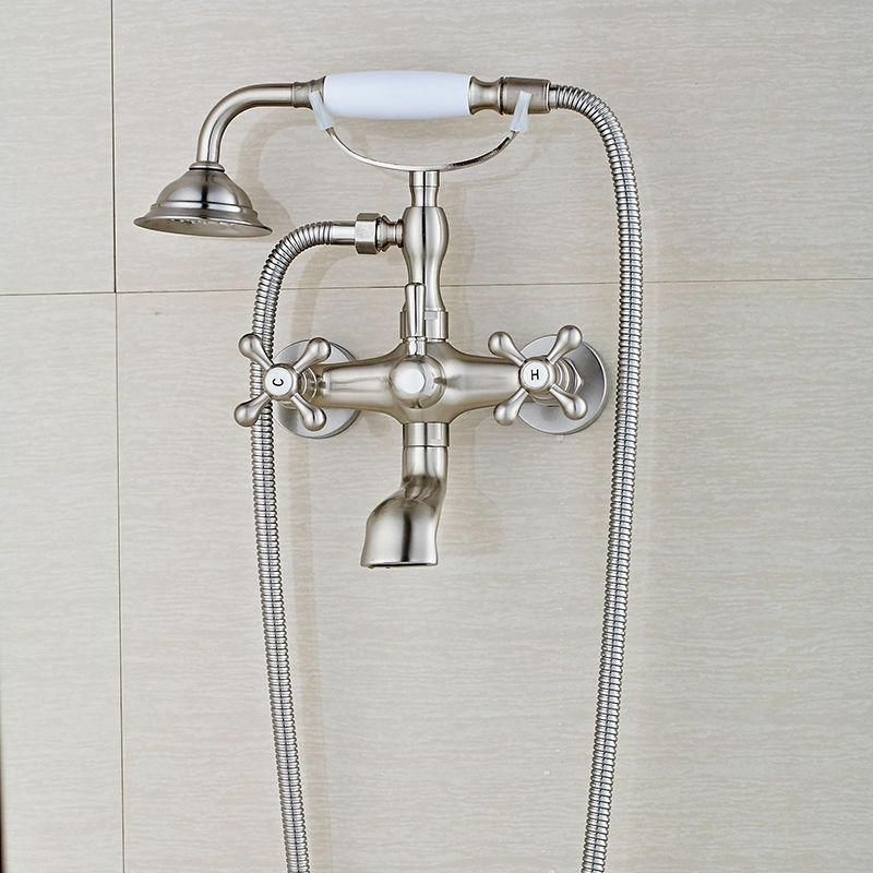 brushed nickel bathtub faucet with tub spout