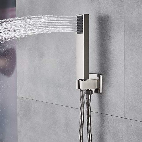 Rozin Mounted 20-inch Overhead Shower System Valve Brushed
