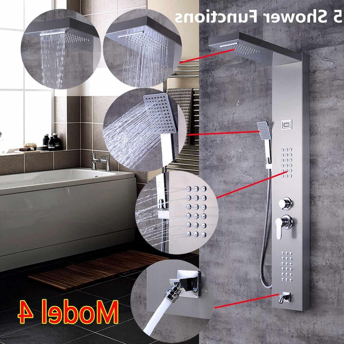 Brushed Nickel Jet Rainfall <font><b>Panel</b></font> Thermostatic Spout Column Mixer