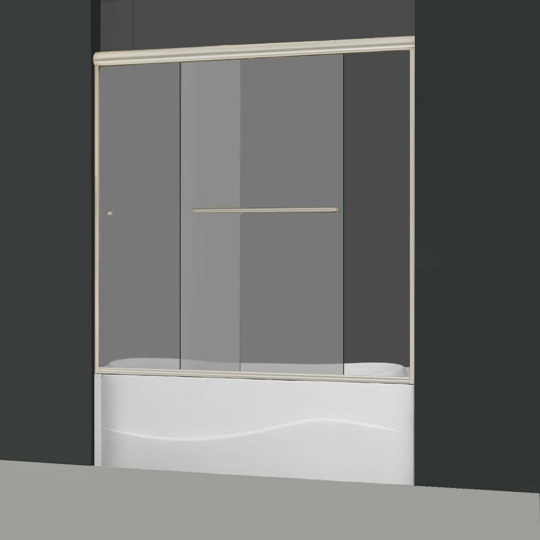 "ELEGANT Glass Tub Doors 58 1/2-60""W Brushed"