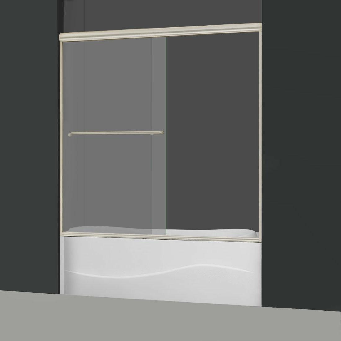"ELEGANT SHOWERS Glass Tub Doors 1/2-60""W Brushed"