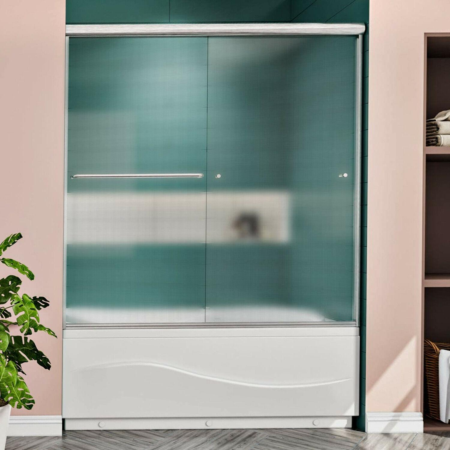 bypass frosted glass tub doors