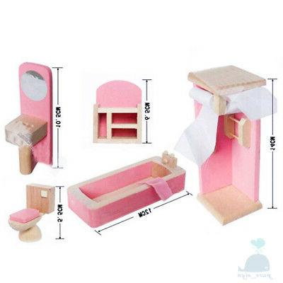 Class Pink Wooden Furniture Dolls Bathroom Dolls