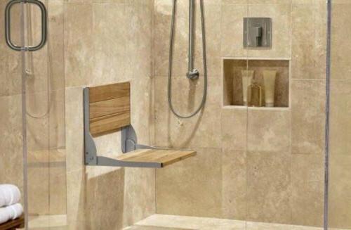 Moen Wall Mounted Wood Aluminum Shower Seat Bronze