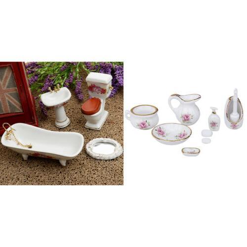 dollhouse furniture floral ceramic shower set