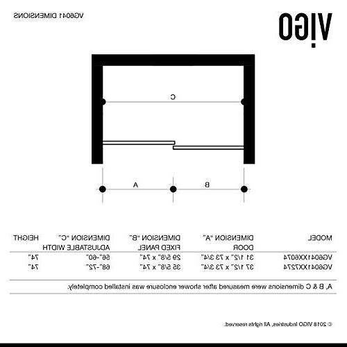 VIGO Elan Adjustable Sliding Door, 74'' H