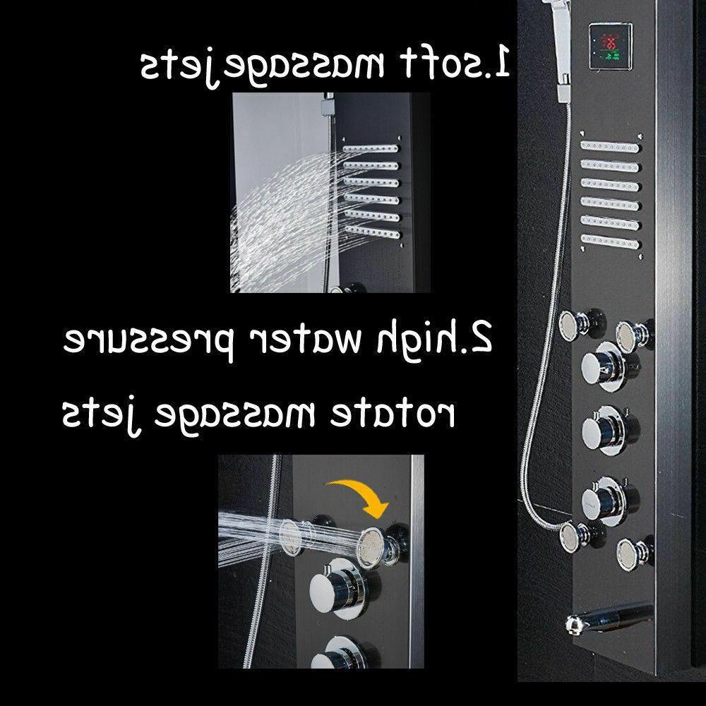 ELLO&ALLO Shower Tower Rain Massage Body Jet Black