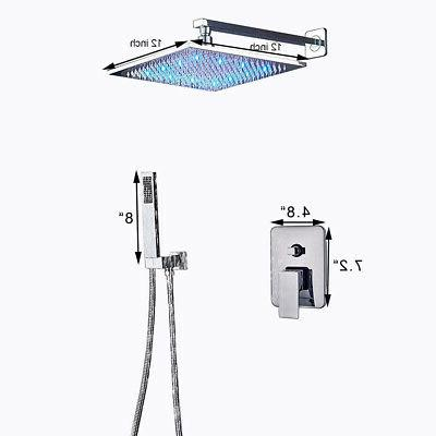 Chrome Bath LED Faucet Set Shower Tap