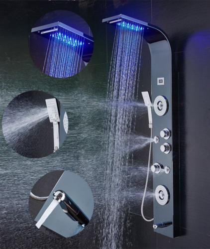 ELLO&ALLO Stainless Steel Shower Panel Tower System,LED Rain
