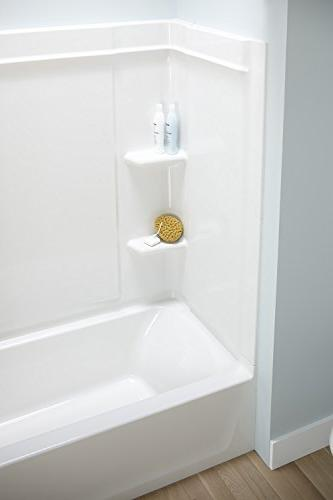 STERLING Ensemble Series-7132 60-Inch x x 75-Inch Bath/Shower Age in Backers and Drain, Biscuit