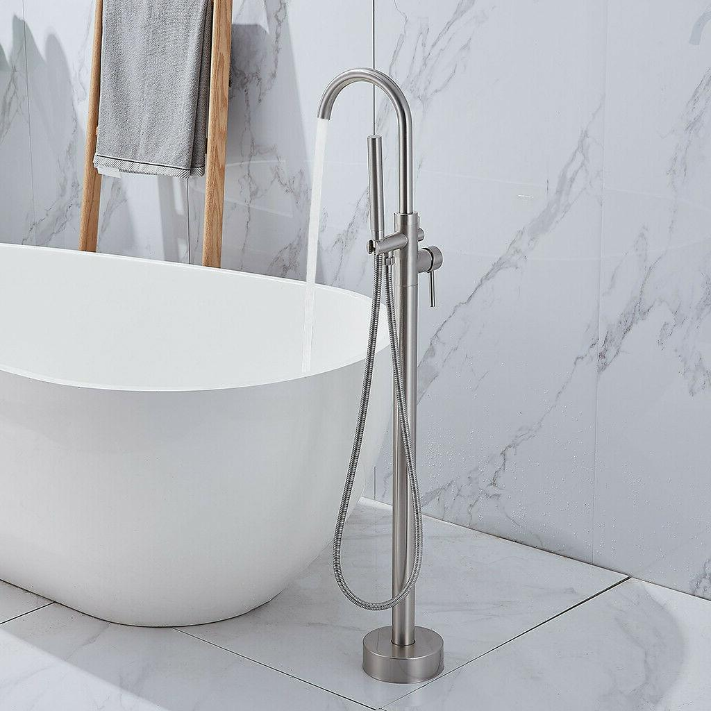 Floor Mounted Free Standing Tub Filler With Hand Mixer