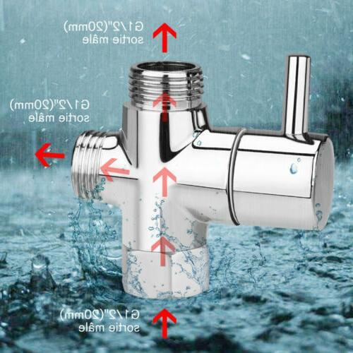 "G1/2"" Brass Chrome 3-Way T-adapter Shower Head Diverter Valv"