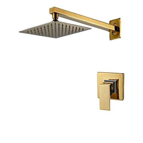 gold wall mounted rainfall shower