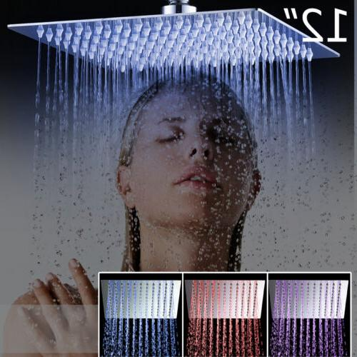 LED Rainfall Shower Head With Hand Set