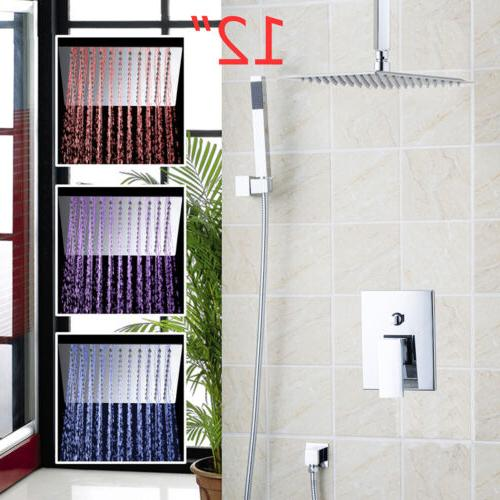 led 12 rainfall bathroom shower head mixer