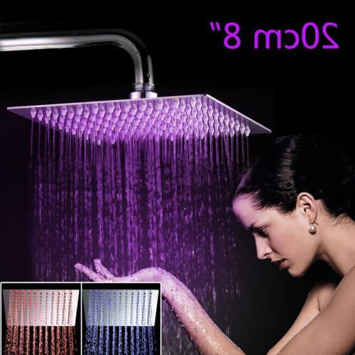 LED Rainfall Shower Faucet Spray Chrome Finish
