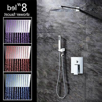 led 8inch rainfall shower faucet set