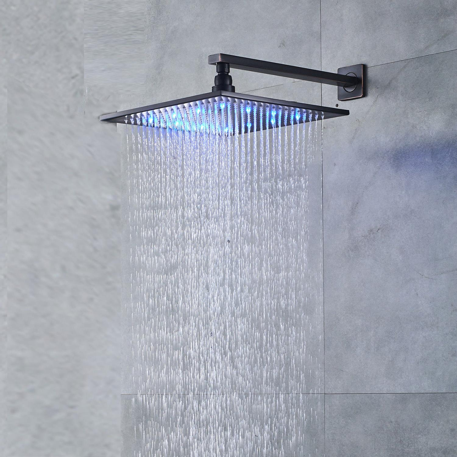 Led Rainfall Shower Wall Mounted Shower Faucet With