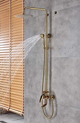 Rozin Gold Bathroom Shower Tub Faucet Head with Spray