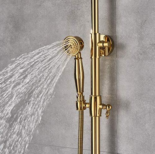 Rozin Gold Color Bathroom Set Tub Faucet 10-inch Head with