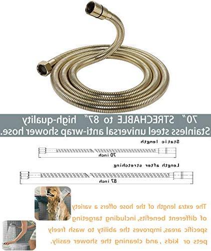 Luxury Pressure Handheld Shower Extra Long Flexible Hose, Adjustable Holder, Brass