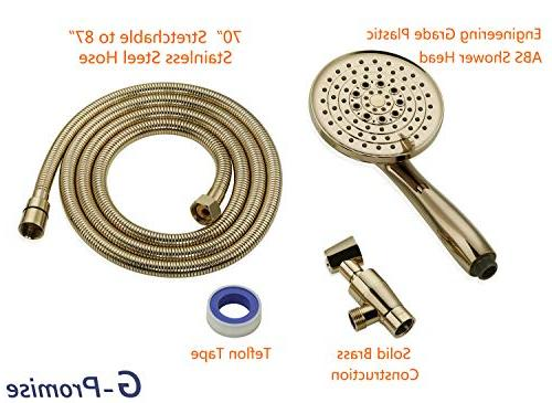 Luxury Handheld Extra Flexible Metal Hose, Metal Holder, Brass