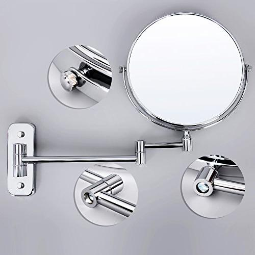 """SONGMICS 8"""" Wall Makeup Mirror 5X Two-Sided 360°Swivel Cosmetic Mirror"""