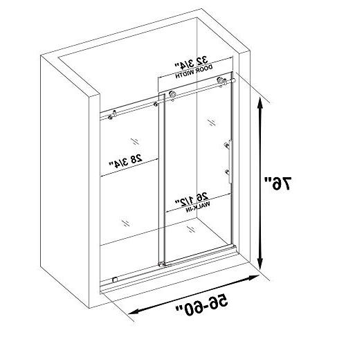 "WOODBRIDGE Shower, 56""-60"" Width, 76"" Height, 3/8"" Clear Tempered Glass, Chrome C-Series: 60""x76"""