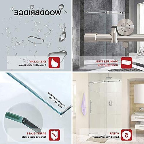 "WOODBRIDGE MBSDC6076C Frameless Shower, 56""-60"" Width, 76"" Height, Clear Glass,"