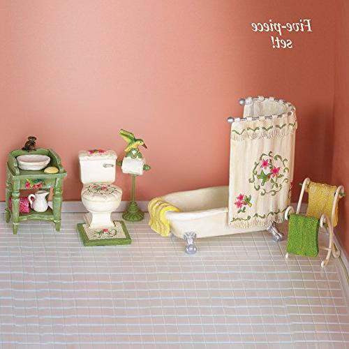 Miniature Hummingbird Bathroom Set - 5 Piece Includes with Curtain, Rack, Toilet, Sink, Stand