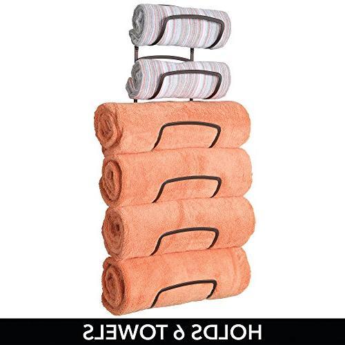 mDesign Modern Six Level Bathroom Holder Mount - Storage of Bath Hand Towels - Bronze