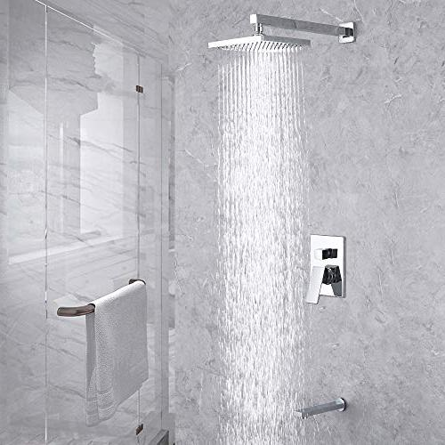 KES Pressure Balance Valve Combo Complete Bath and Shower Set Diverter Tub Shower and Fixed Showerhead Traditional