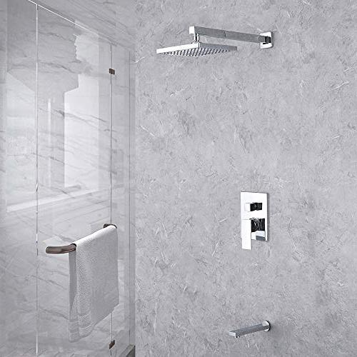 KES Valve Combo Complete Kit Bath Set Tub Spout Shower and Fixed Showerhead Chrome,