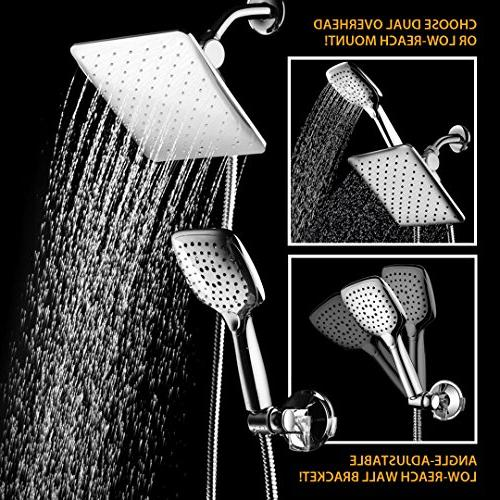 HotelSpa Shower Head/Handheld Push-Button Flow Button for easy flow same hand! Low-Reach included