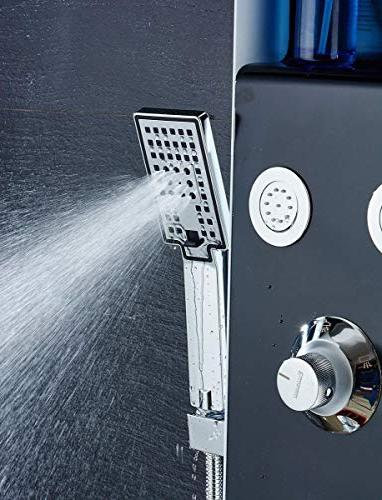 ELLO&ALLO LED Rainfall Waterfall Shower Head System Body & Shower Stainless Steel Tower Black Silver