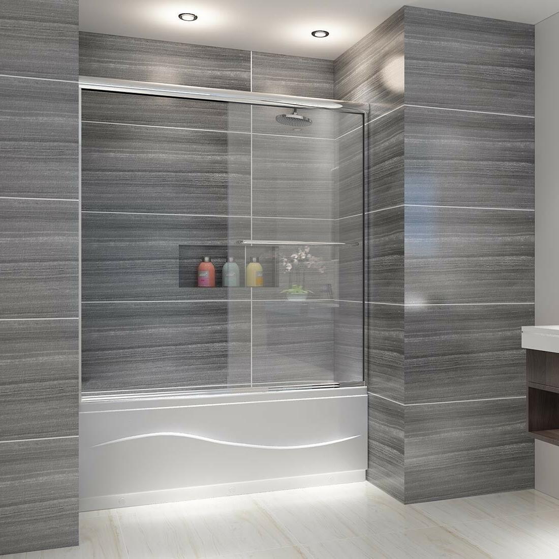 """ELEGANT Bypass 2 Sliding Shower Tub Doors 58 1/2""""-60""""W Brush"""