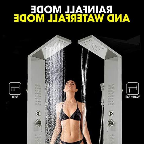 Happybuy Shower Panel System Steel Shower Spout Rainfall Tub for Split Type