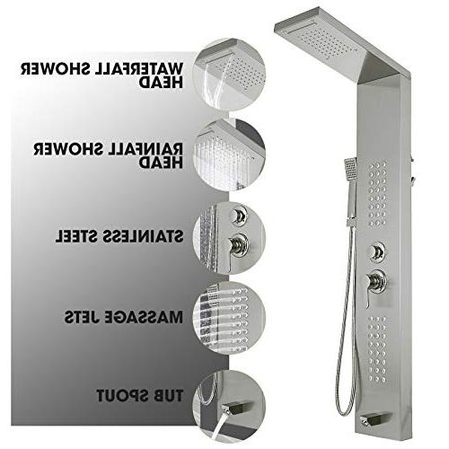 Happybuy Shower Panel Tower System Stainless Steel Shower Panel with Rainfall Tub Hand for Resort Split Type