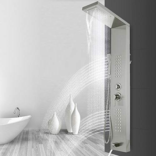 Happybuy System Shower with Rainfall Jets Tub Spout for Resort Split
