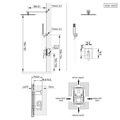 Esnbia System, Brushed Nickel with Valve Rain Head Wall Set Bathroom Metal
