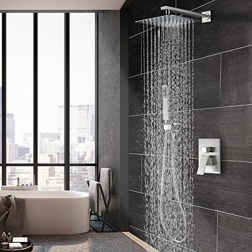Esnbia System, Nickel with Rain Head Wall Shower Set Metal