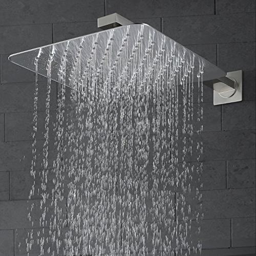 Esnbia Brushed Nickel Shower with Valve Rain Shower Wall Shower Combo Set for Bathroom Metal