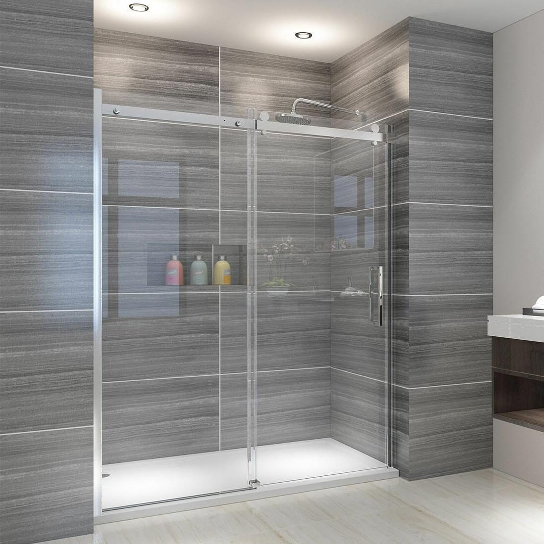 """ELEGANT Showers Semi-Frameless Sliding 5/16"""" Glass Shower Do"""
