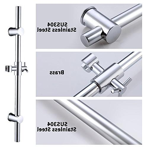 KES F203 Stainless Steel Slide Bars All Brass Height and Adjustable, Polished Steel