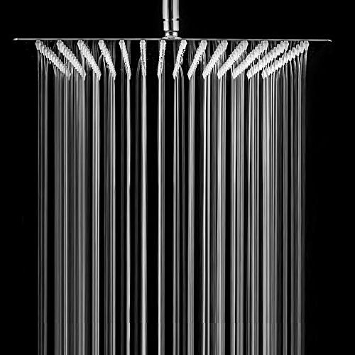LORDEAR Solid Ultra Thin Stainless 16 Inch Adjustable Rain Shower Chrome,Waterfall Full Body with Nozzle to Clean
