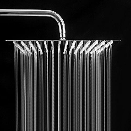 LORDEAR Solid Square Thin 304 16 Inch Shower Polish Chrome,Waterfall with Silicone to and