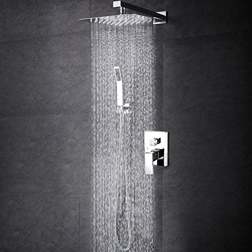 SR RISE SRSH-F5043 Bathroom Luxury Shower Mounted Rainfall Head System Chrome