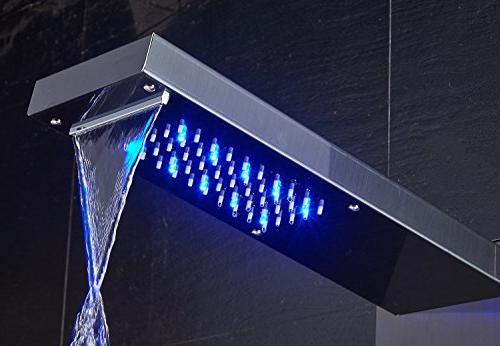 ELLO&ALLO Stainless Steel Waterfall Panel Rain System Jets,Hydroelectricity Shower Fingerprint-Free,Brushed