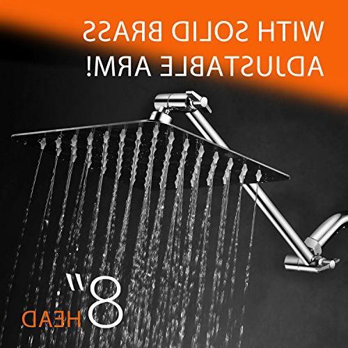 HotelSpa Large inch Stainless Steel Slimline Rainfall Showerhead Brass Adjustable Extension