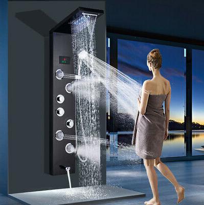 stainless stell shower panel tower led rain